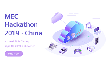 Event banner, MEC Hackathon 2019 in China, objects linked to cloud