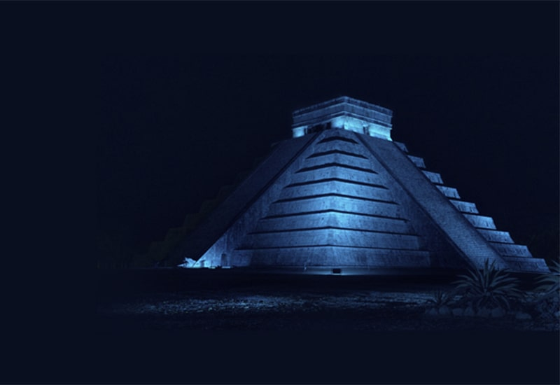 Decoration image with pyramid for event location in Mexico