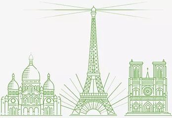 Eiffel tower and other buildings drawn in light green