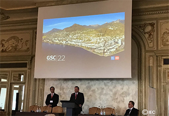 Meeting room with GSC-22 and lake and mountains projected on the wall