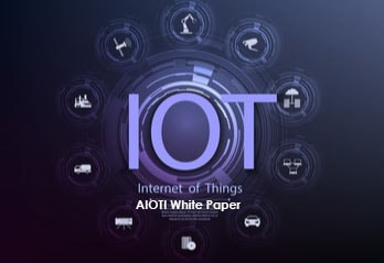 Image with text IOT - Internet of Things - AIOTI White Paper and icons representing IoT around