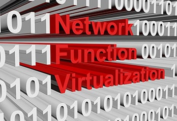 White letters 0 and 1 and Network Functions Virtualization written in red