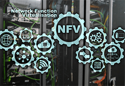 Decoration with NFV and gear icons including applications like cloud, PC, globe, radio waves etc.