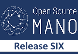 Logo Open Source Mano, white on blue background with Release SIX