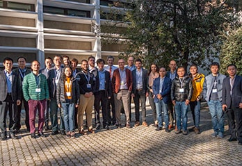 Meeting participants in front of ETSI building