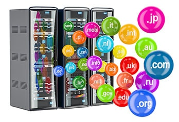 Server with many colourful icons containing domain names