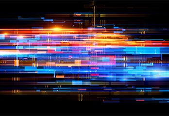 Quantum computer net system, abstract design, colourful on black background