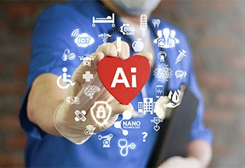 man in blue blouse holding red heart with Ai written in white on it and icons related to health in background