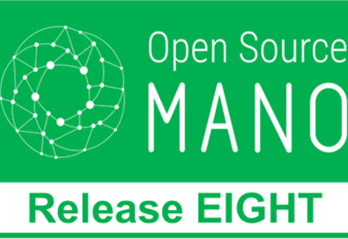 White Open Source MANO logo on green background with text Release Eight