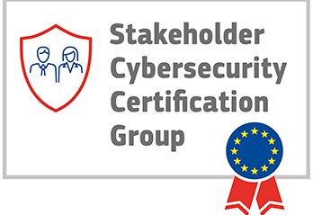 Security shield with man & woman inside, blue circle with yellow stars for Europe and red ribbon with text Stakeholder Cybersecurity Certification Group