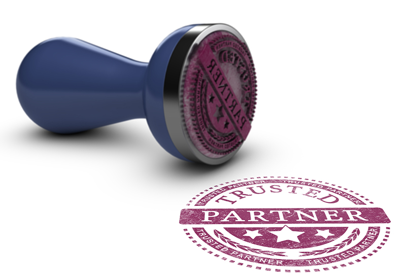 "Stamp and stamped text ""Trusted Partner"""