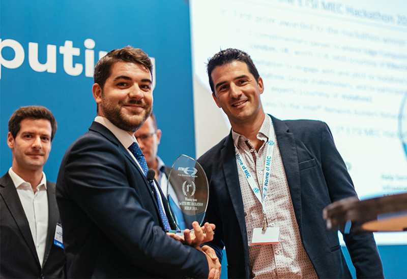 Image showing from left to right: Michele Carignani, ETSI - Mathieu Duperré, founder of Edgegap, winner of Berlin MEC Hackathon