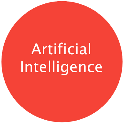 "Red round circle with text ""Artificial Intelligence"" with pop-up including caption text on subject"