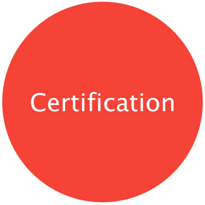 "Red round circle with text ""Certification"" with pop-up including caption text on subject"