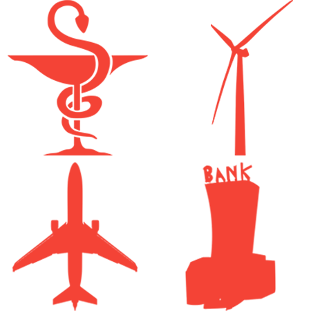 Medical sign, windmill, plane and bank combined