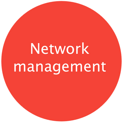 "Red round circle with text ""Network Management"" with pop-up including caption text on subject"