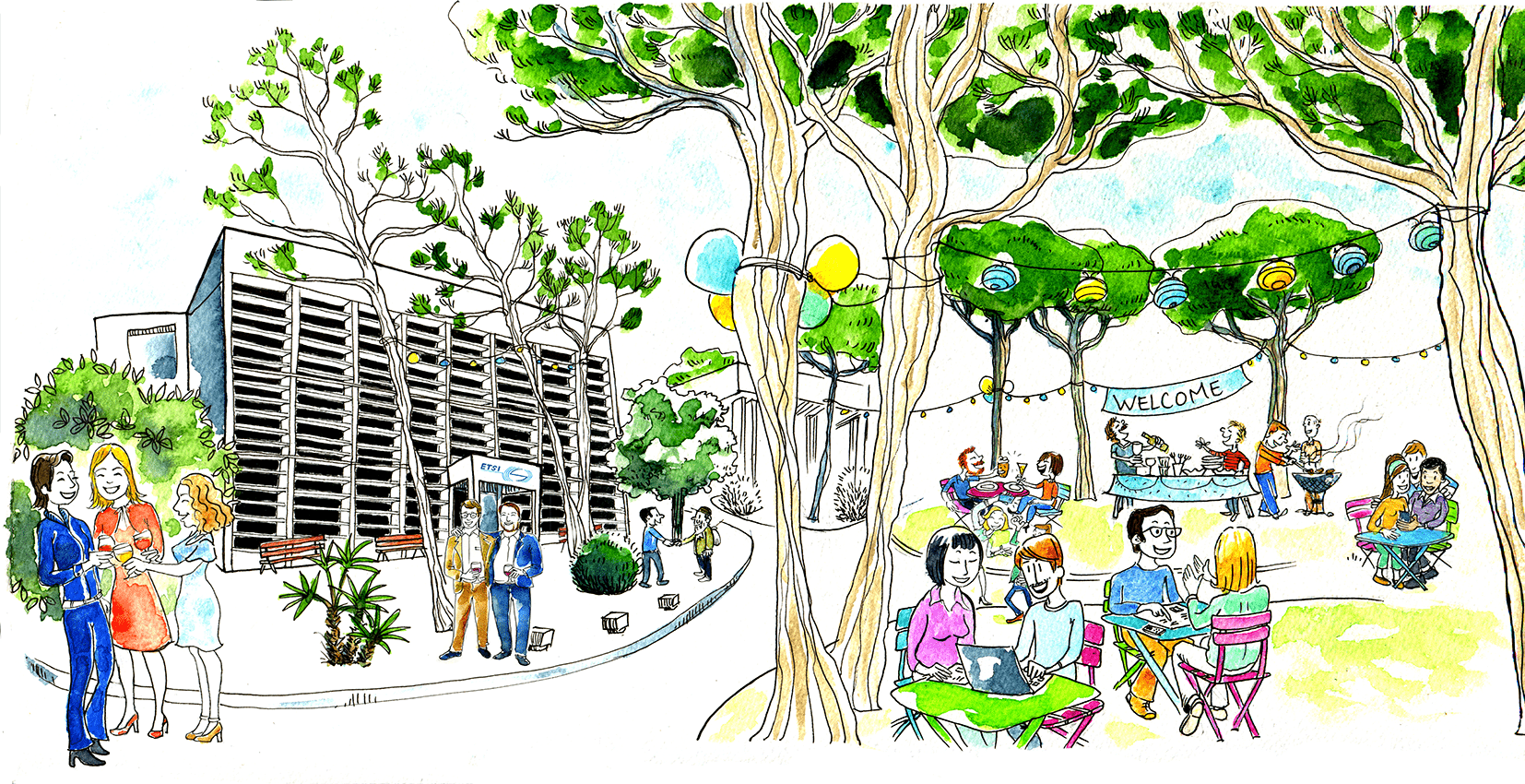 Drawing of neighbours day with people holding food & drinks talking together before the ETSI building