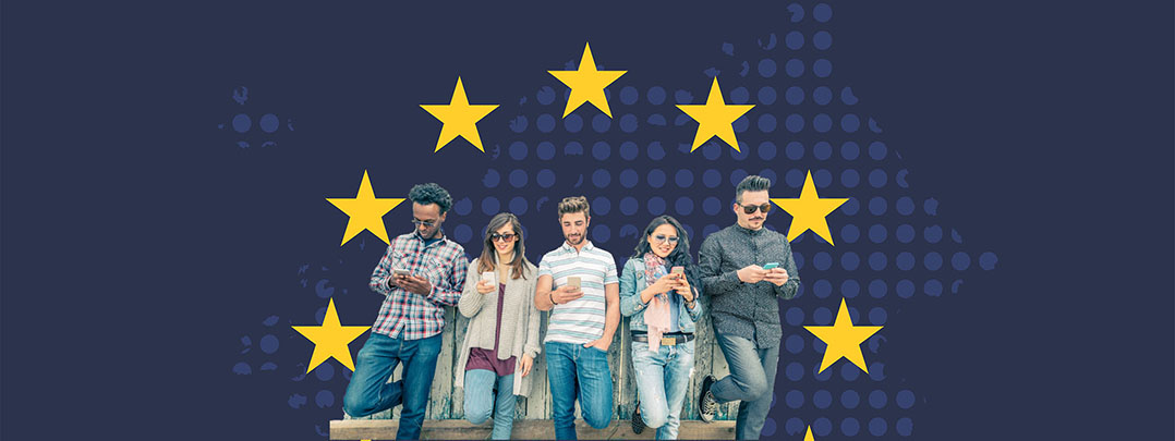 Young people on smart phone with yellow stars from European flag around with blue background