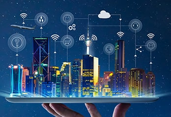 Smart cities image with buildings and IoT icons