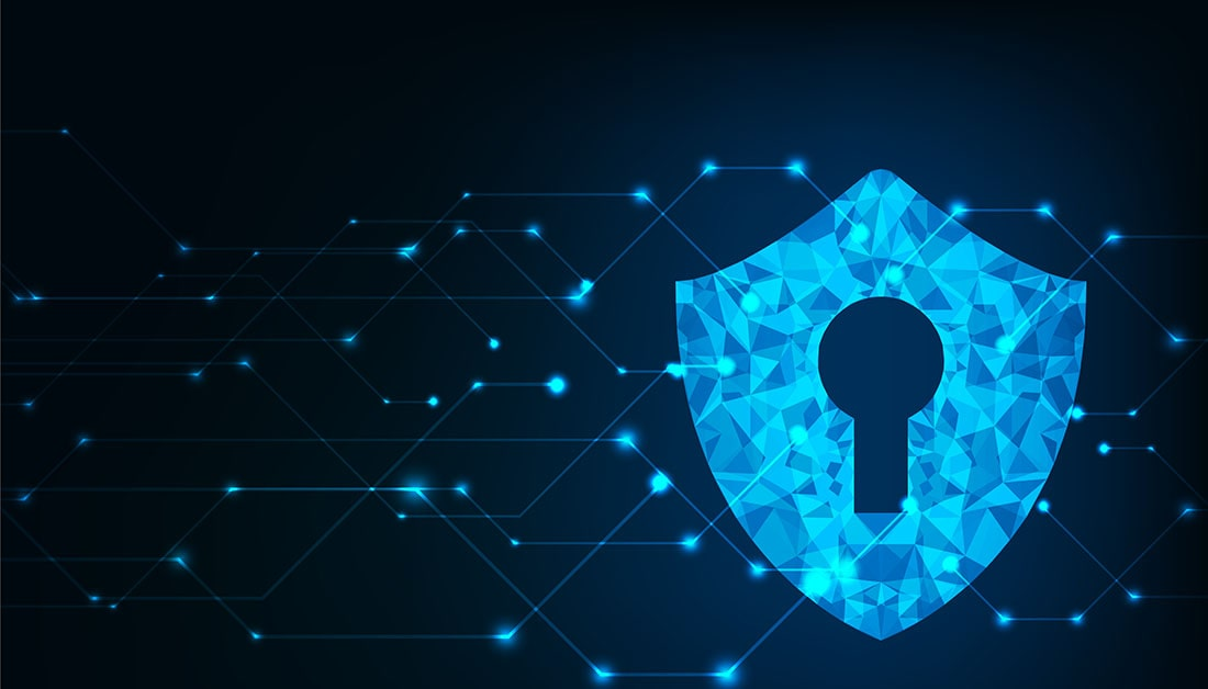 Security lock on blue background