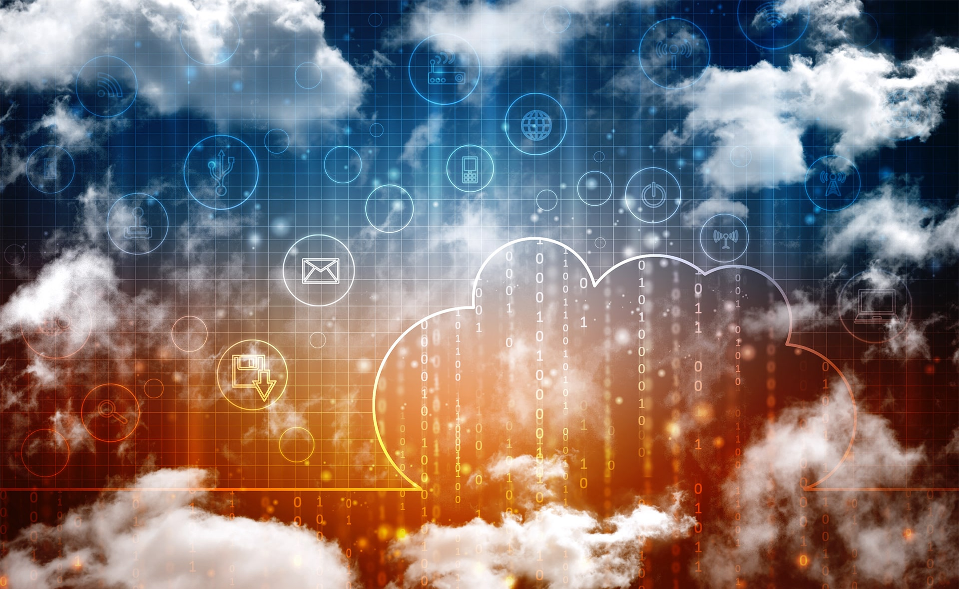 Image showing clouds sourrounding an orange, blue background with technology icons