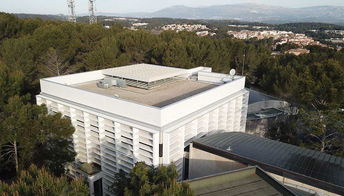Photo of ETSI main building in drone view