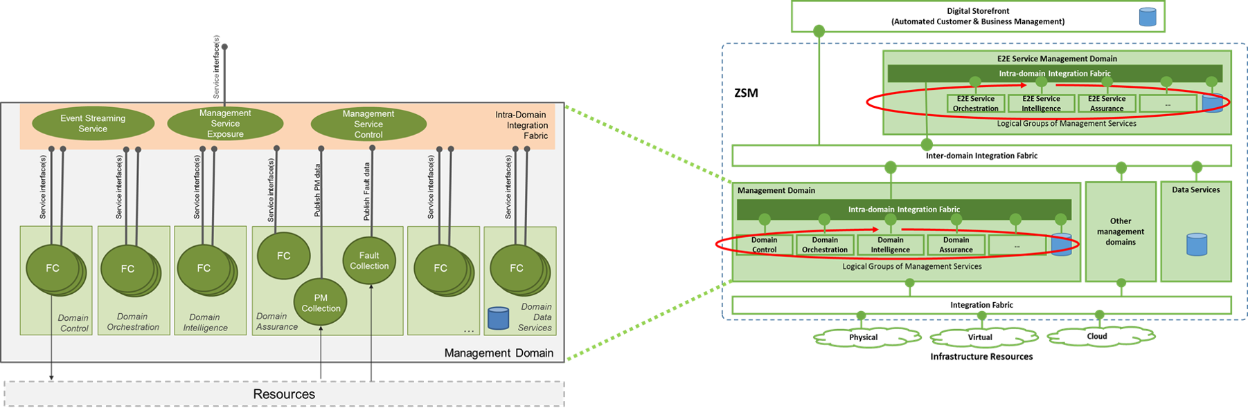 High level architecture inside a management domain