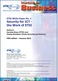 "Cover of Security White Paper ""Security for ICT - the Work of ETSI"""